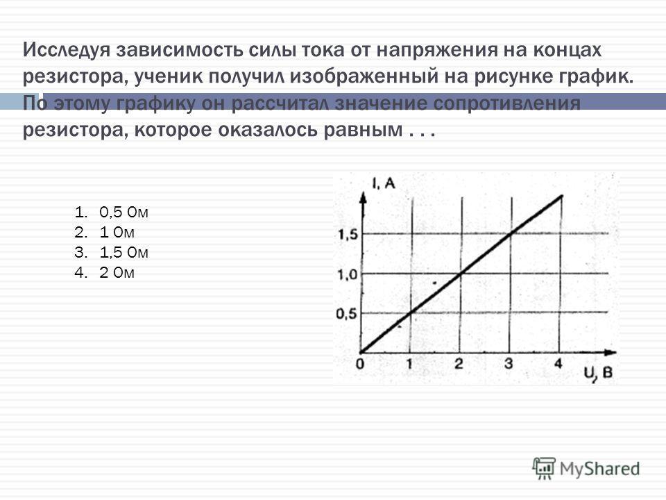 Исследуя зависимость силы тока от напряжения на концах резистора, ученик получил изображенный на рисунке график. По этому графику он рассчитал значение сопротивления резистора, которое оказалось равным... 1.0,5 Ом 2.1 Ом 3.1,5 Ом 4.2 Ом