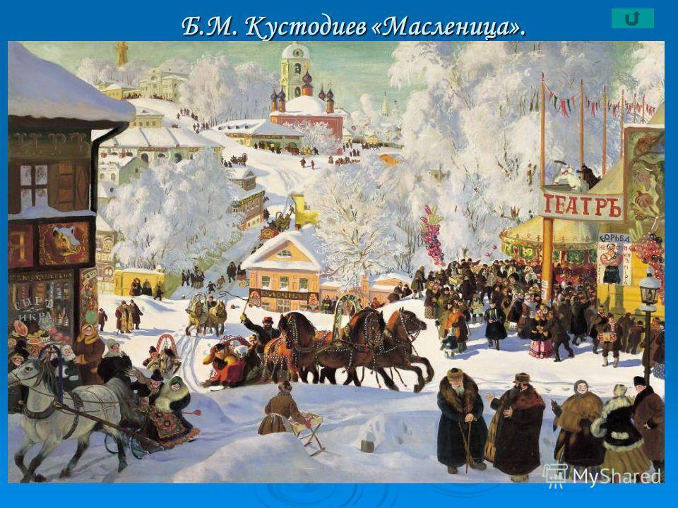 Б.М. Кустодиев «Масленица». Б.М. Кустодиев «Масленица».