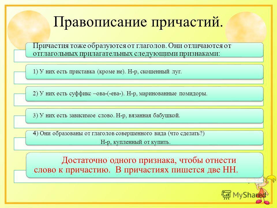 Правописание причастий. Причастия тоже образуются от глаголов. Они отличаются от отглагольных прилагательных следующими признаками: 1) У них есть приставка (кроме не). Н-р, скошенный луг.2) У них есть суффикс –ова-(-ева-). Н-р, маринованные помидоры.