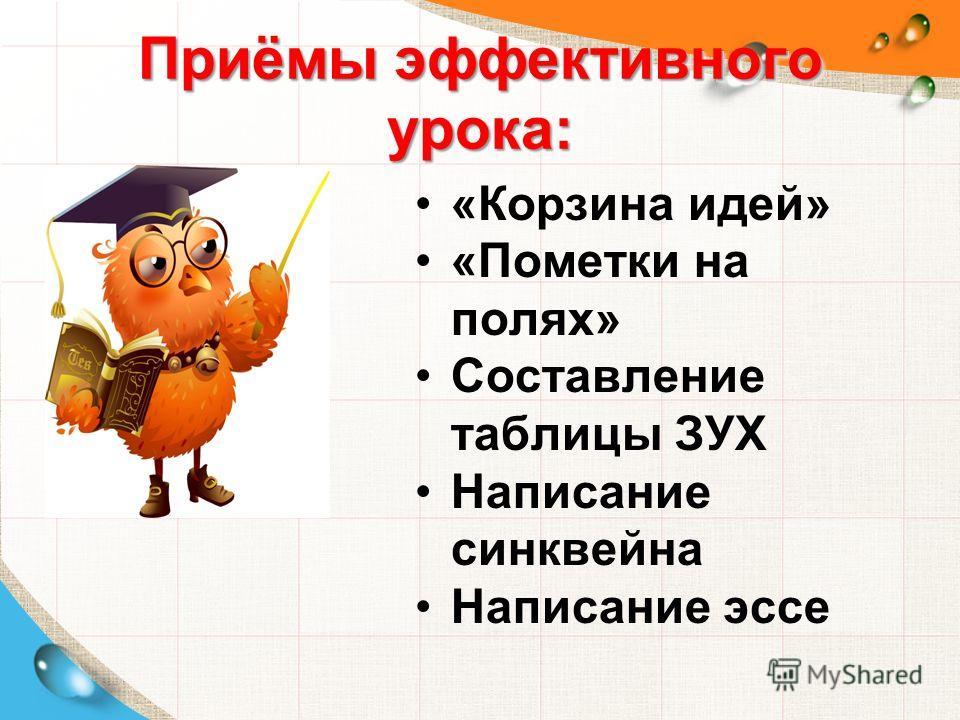Приёмы эффективного урока: Приёмы эффективного урока: «Корзина идей» «Пометки на полях» Составление таблицы ЗУХ Написание синквейна Написание эссе