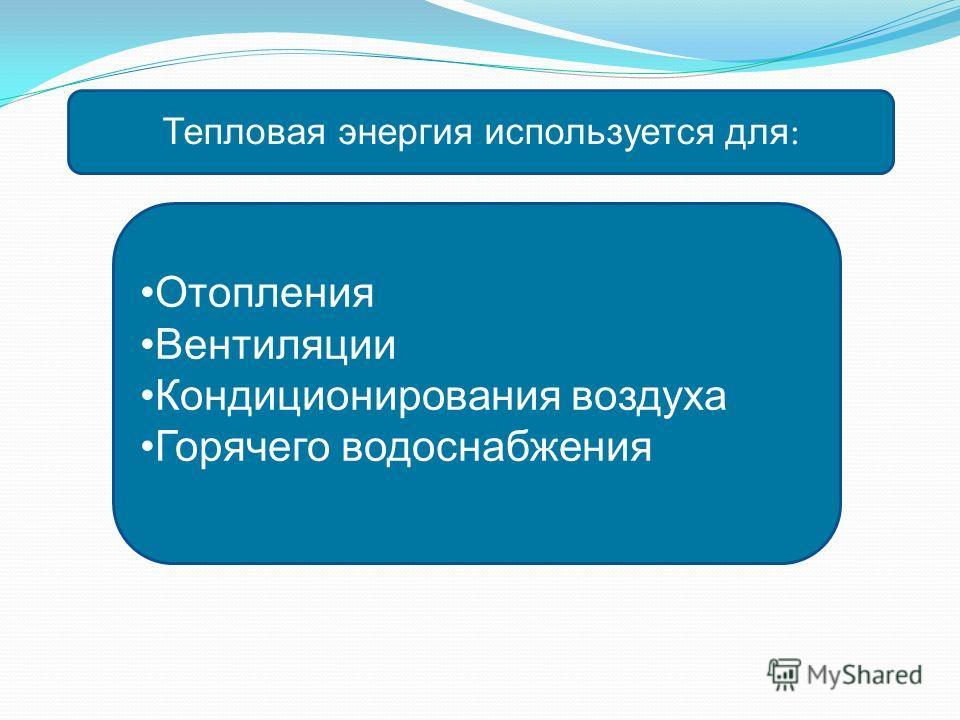 Тепловая энергия используется для : Отопления Вентиляции Кондиционирования воздуха Горячего водоснабжения