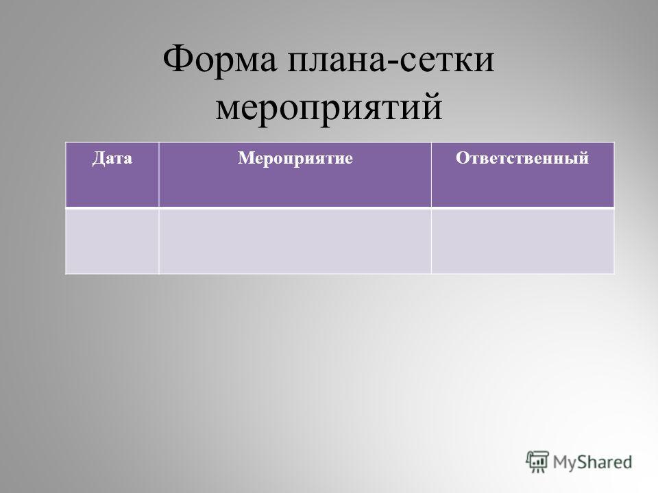 Форма плана-сетки мероприятий ДатаМероприятиеОтветственный