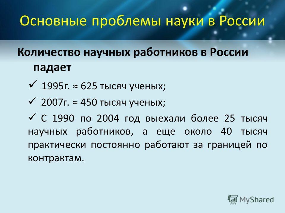 Основные проблемы науки в России Количество научных работников в России падает 1995г. 625 тысяч ученых; 2007г. 450 тысяч ученых; С 1990 по 2004 год выехали более 25 тысяч научных работников, а еще около 40 тысяч практически постоянно работают за гран