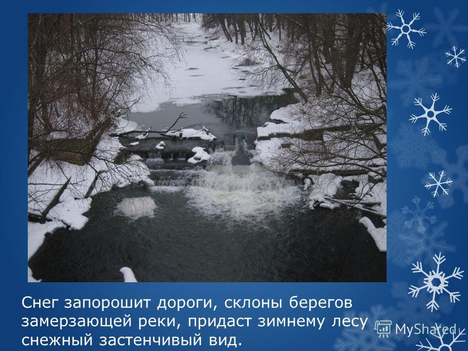 Снег запорошит дороги, склоны берегов замерзающей реки, придаст зимнему лесу снежный застенчивый вид.