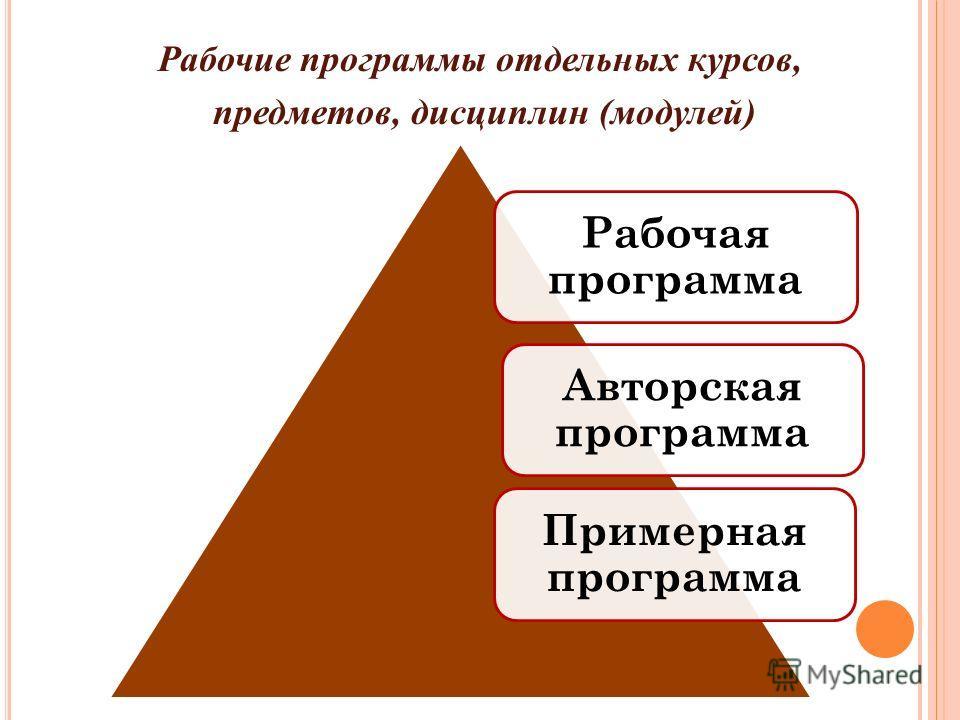 Рабочие программы отдельных курсов, предметов, дисциплин (модулей) Рабочая программа Авторская программа Примерная программа