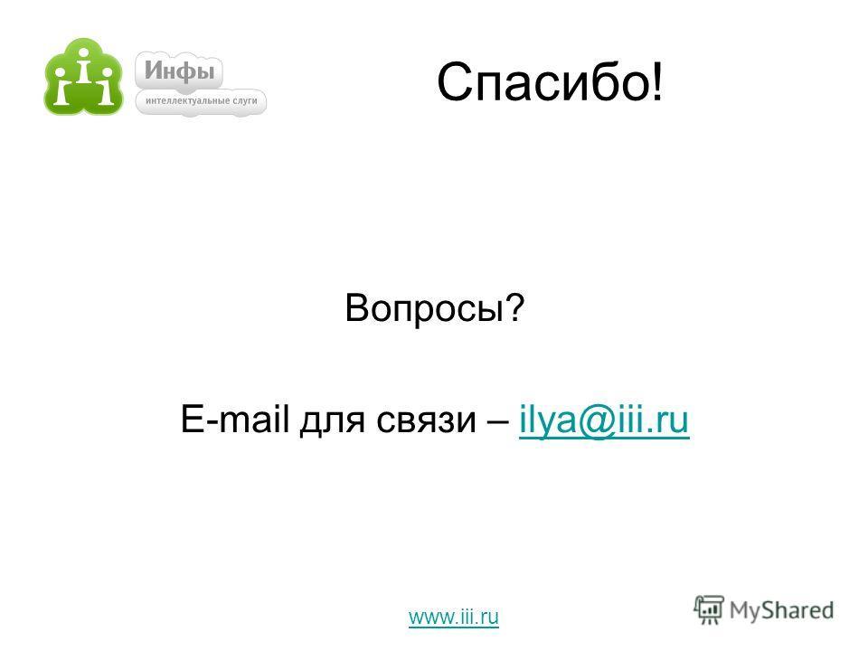 Спасибо! Вопросы? E-mail для связи – ilya@iii.ruilya@iii.ru www.iii.ru