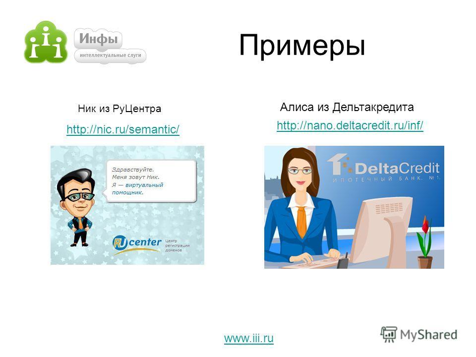 Примеры Ник из РуЦентра www.iii.ru Алиса из Дельтакредита http://nic.ru/semantic/ http://nano.deltacredit.ru/inf/