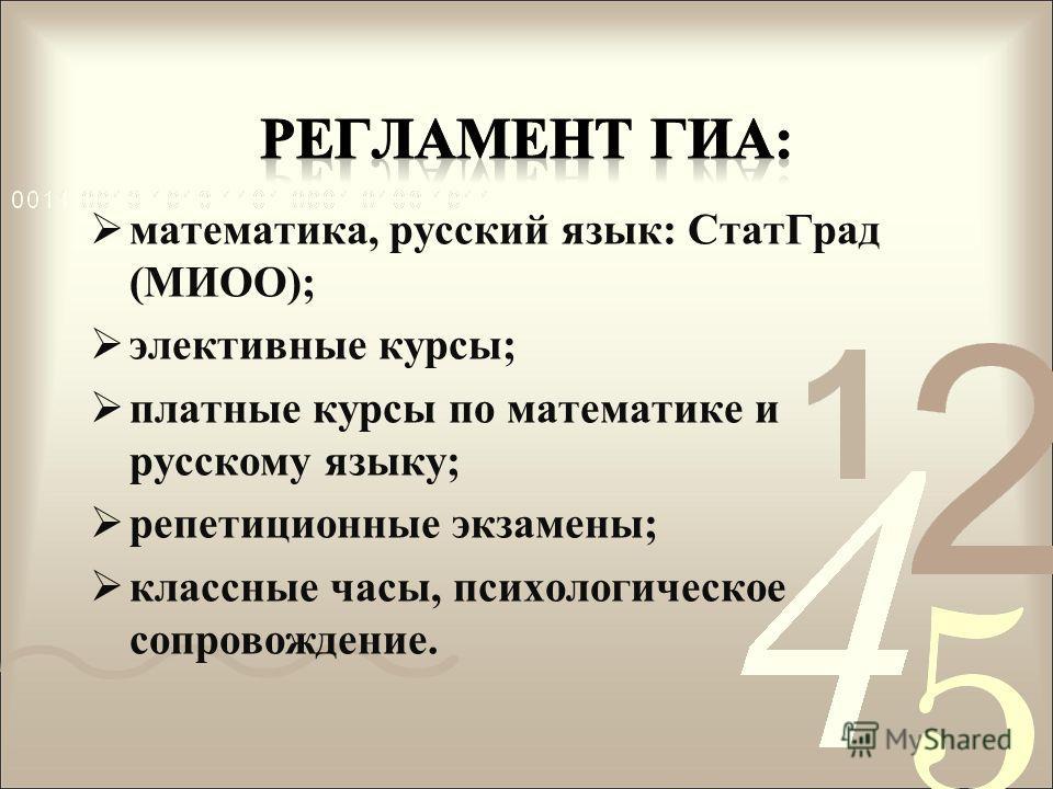 математика, русский язык: СтатГрад (МИОО); элективные курсы; платные курсы по математике и русскому языку; репетиционные экзамены; классные часы, психологическое сопровождение.