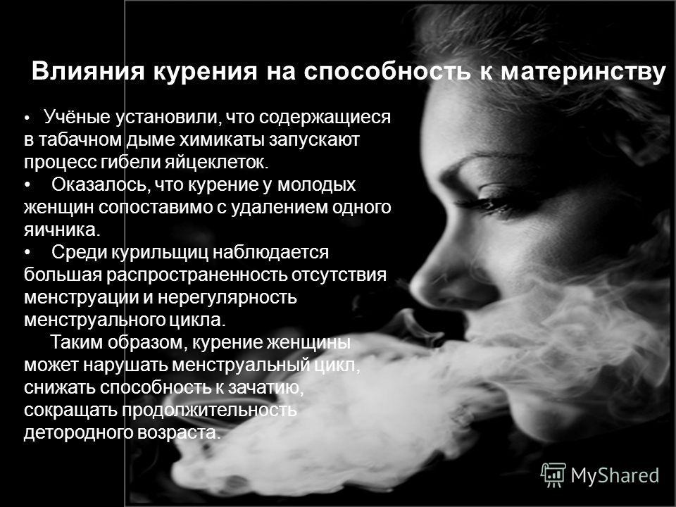 Учёные установили, что содержащиеся в табачном дыме химикаты запускают процесс гибели яйцеклеток. Оказалось, что курение у молодых женщин сопоставимо с удалением одного яичника. Среди курильщиц наблюдается большая распространенность отсутствия менстр