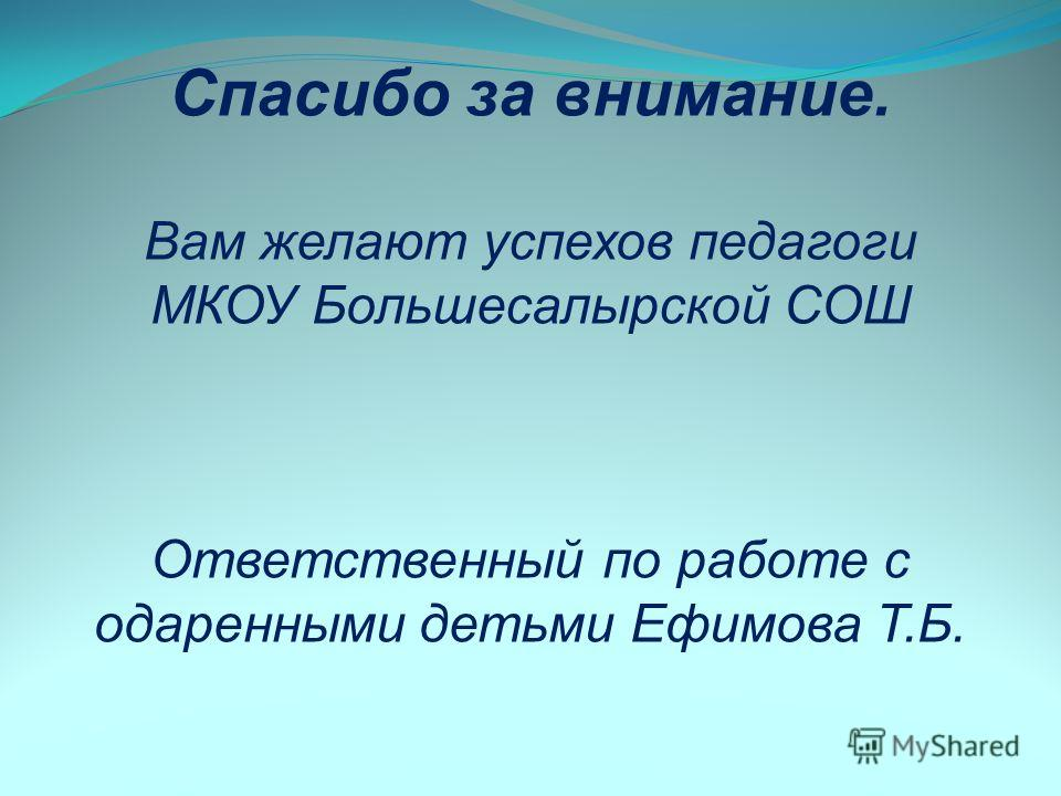 Спасибо за внимание. Вам желают успехов педагоги МКОУ Большесалырской СОШ Ответственный по работе с одаренными детьми Ефимова Т.Б.