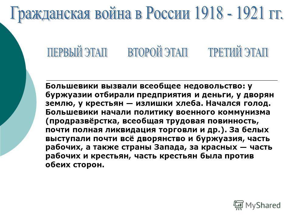 Большевики вызвали всеобщее недовольство: у буржуазии отбирали предприятия и деньги, у дворян землю, у крестьян излишки хлеба. Начался голод. Большевики начали политику военного коммунизма (продразвёрстка, всеобщая трудовая повинность, почти полная л
