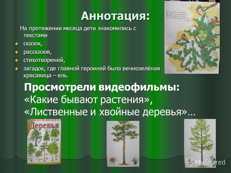 Аннотация: На протяжении месяца дети знакомились с текстами На протяжении месяца дети знакомились с текстами сказок, сказок, рассказов, рассказов, стихотворений, стихотворений, загадок, где главной героиней была вечнозелёная красавица – ель. загадок,