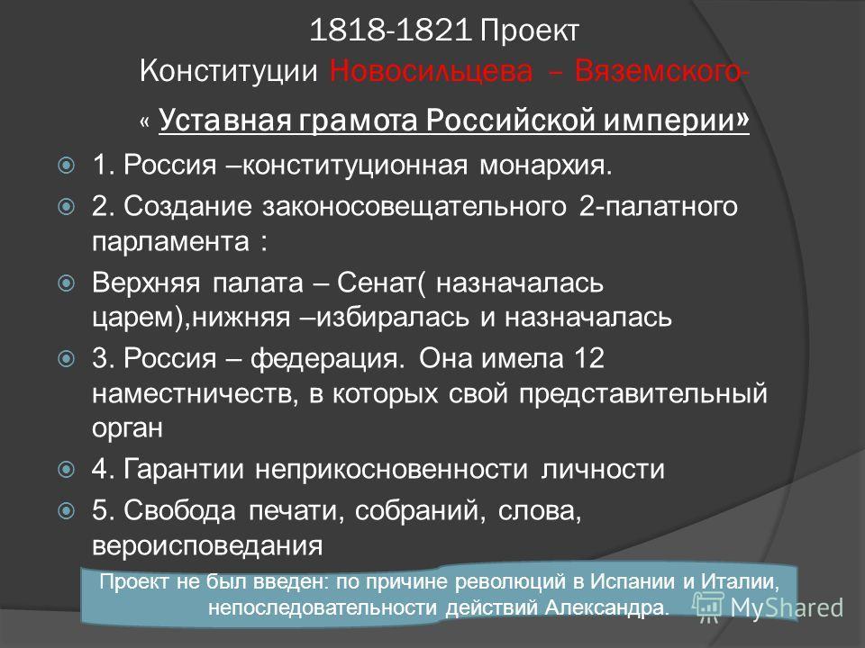 1818-1821 Проект Конституции Новосильцева – Вяземского- « Уставная грамота Российской империи » 1. Россия –конституционная монархия. 2. Создание законосовещательного 2-палатного парламента : Верхняя палата – Сенат( назначалась царем),нижняя –избирала
