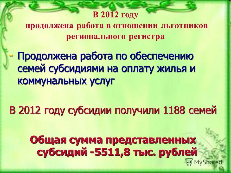 В 2012 году продолжена работа в отношении льготников регионального регистра - Продолжена работа по обеспечению семей субсидиями на оплату жилья и коммунальных услуг В 2012 году субсидии получили 1188 семей Общая сумма представленных субсидий -5511,8