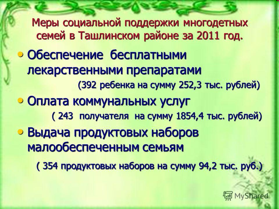 Меры социальной поддержки многодетных семей в Ташлинском районе за 2011 год. Обеспечение бесплатными лекарственными препаратами Обеспечение бесплатными лекарственными препаратами (392 ребенка на сумму 252,3 тыс. рублей) (392 ребенка на сумму 252,3 ты