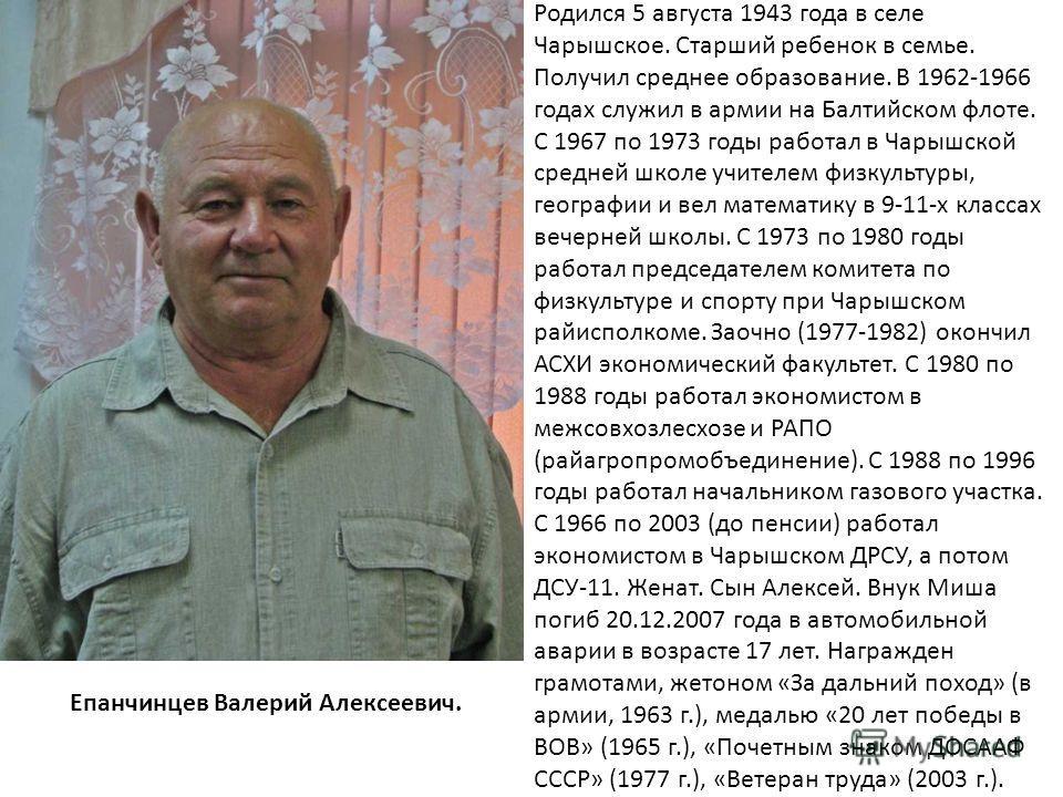 Родился 5 августа 1943 года в селе Чарышское. Старший ребенок в семье. Получил среднее образование. В 1962-1966 годах служил в армии на Балтийском флоте. С 1967 по 1973 годы работал в Чарышской средней школе учителем физкультуры, географии и вел мате
