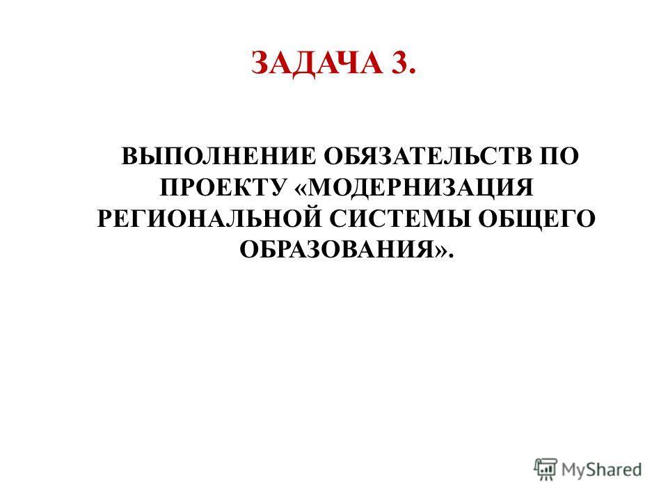 ЗАДАЧА 3. ВЫПОЛНЕНИЕ ОБЯЗАТЕЛЬСТВ ПО ПРОЕКТУ «МОДЕРНИЗАЦИЯ РЕГИОНАЛЬНОЙ СИСТЕМЫ ОБЩЕГО ОБРАЗОВАНИЯ».