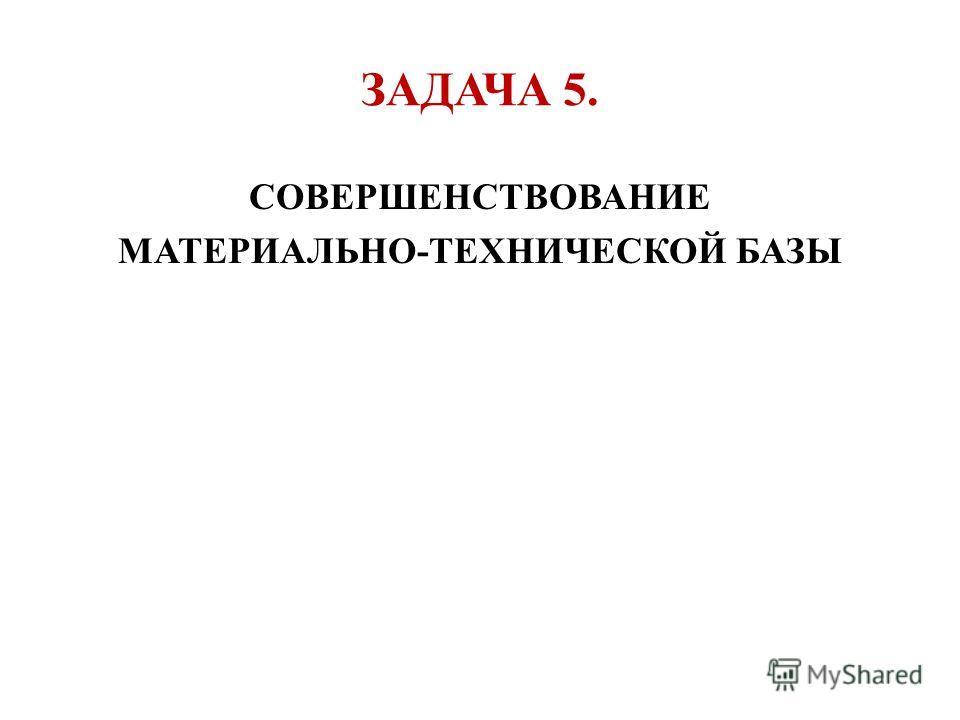 ЗАДАЧА 5. СОВЕРШЕНСТВОВАНИЕ МАТЕРИАЛЬНО-ТЕХНИЧЕСКОЙ БАЗЫ