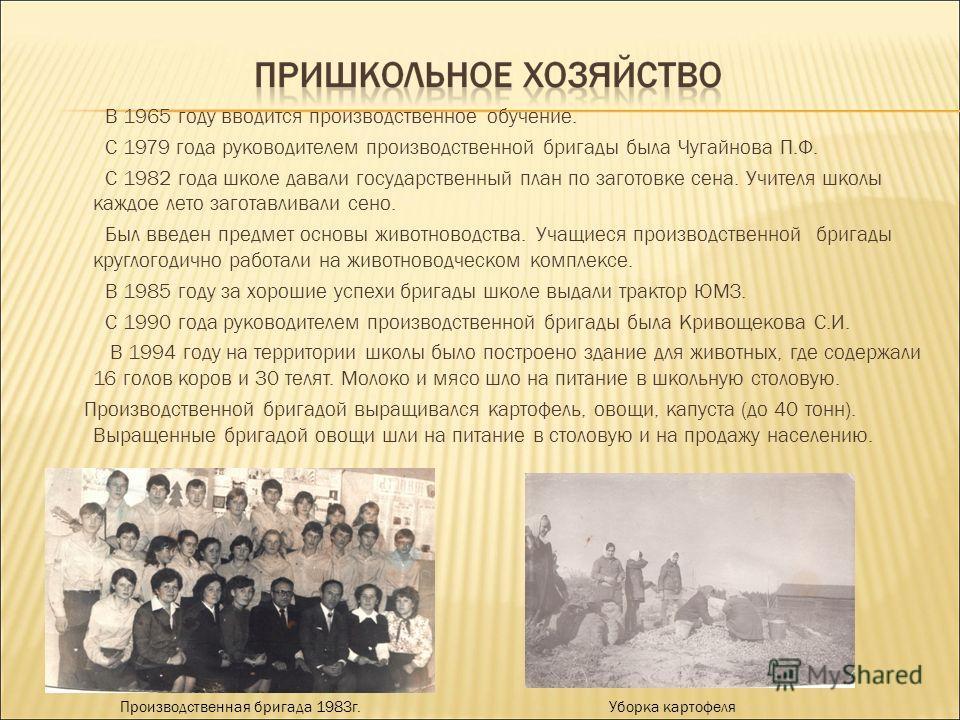 В 1965 году вводится производственное обучение. С 1979 года руководителем производственной бригады была Чугайнова П.Ф. С 1982 года школе давали государственный план по заготовке сена. Учителя школы каждое лето заготавливали сено. Был введен предмет о