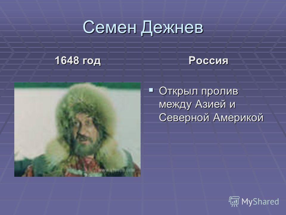 Семен Дежнев 1648 год Россия Открыл пролив между Азией и Северной Америкой Открыл пролив между Азией и Северной Америкой