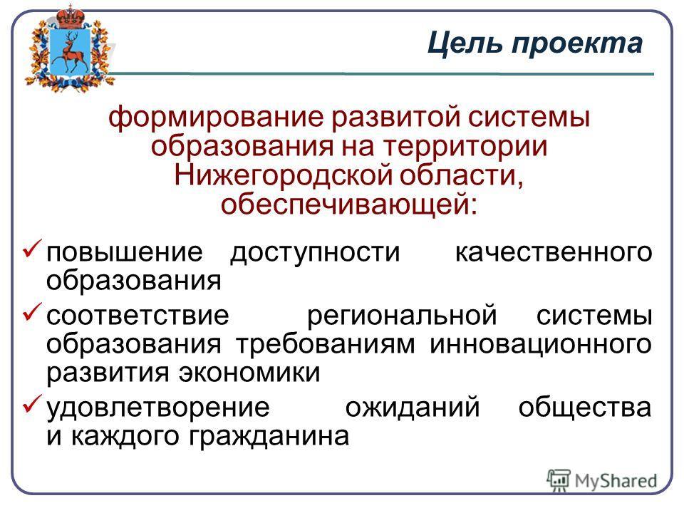 Цель проекта формирование развитой системы образования на территории Нижегородской области, обеспечивающей: повышение доступности качественного образования соответствие региональной системы образования требованиям инновационного развития экономики уд