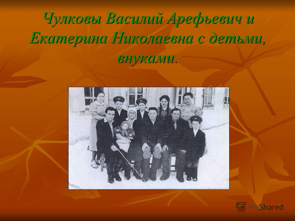 Чулковы Василий Арефьевич и Екатерина Николаевна с детьми, внуками.