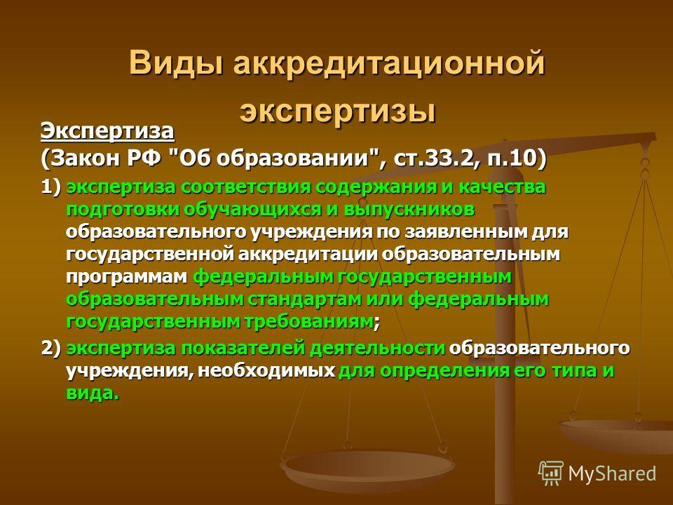Виды аккредитационной экспертизы Экспертиза (Закон РФ