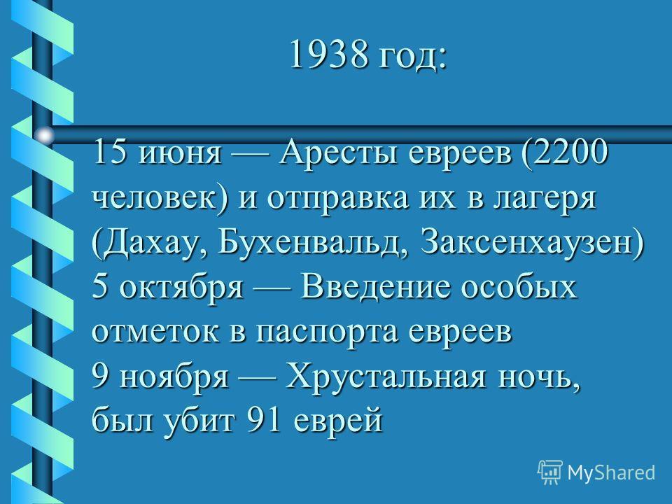 1938 год: 15 июня Аресты евреев (2200 человек) и отправка их в лагеря (Дахау, Бухенвальд, Заксенхаузен) 5 октября Введение особых отметок в паспорта евреев 9 ноября Хрустальная ночь, был убит 91 еврей 1938 год: 15 июня Аресты евреев (2200 человек) и