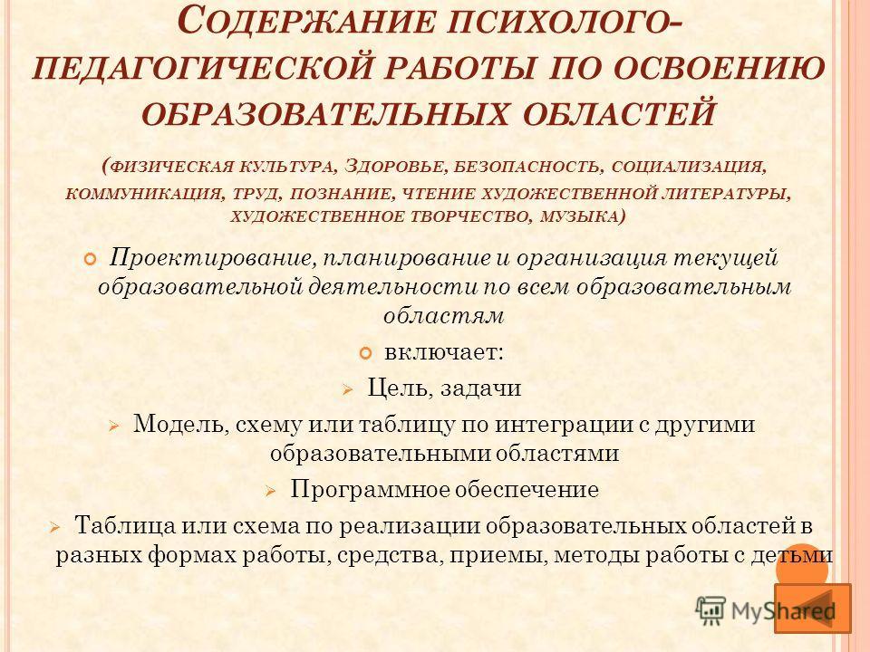 С ОДЕРЖАНИЕ ПСИХОЛОГО - ПЕДАГОГИЧЕСКОЙ РАБОТЫ ПО ОСВОЕНИЮ ОБРАЗОВАТЕЛЬНЫХ ОБЛАСТЕЙ ( ФИЗИЧЕСКАЯ КУЛЬТУРА, З ДОРОВЬЕ, БЕЗОПАСНОСТЬ, СОЦИАЛИЗАЦИЯ, КОММУНИКАЦИЯ, ТРУД, ПОЗНАНИЕ, ЧТЕНИЕ ХУДОЖЕСТВЕННОЙ ЛИТЕРАТУРЫ, ХУДОЖЕСТВЕННОЕ ТВОРЧЕСТВО, МУЗЫКА ) Проек