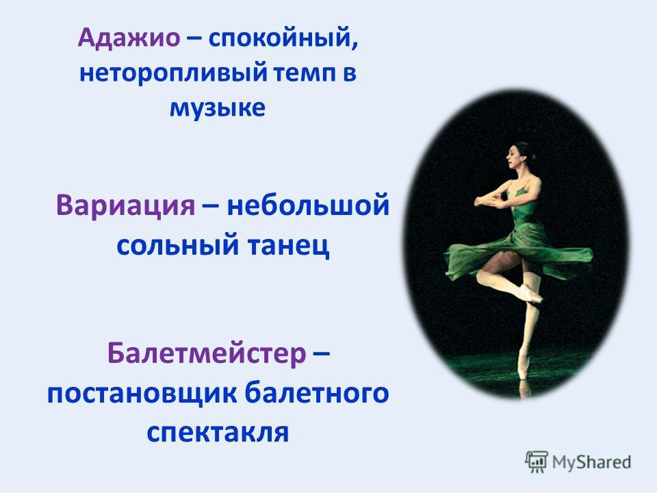 Адажио – спокойный, неторопливый темп в музыке Вариация – небольшой сольный танец Балетмейстер – постановщик балетного спектакля