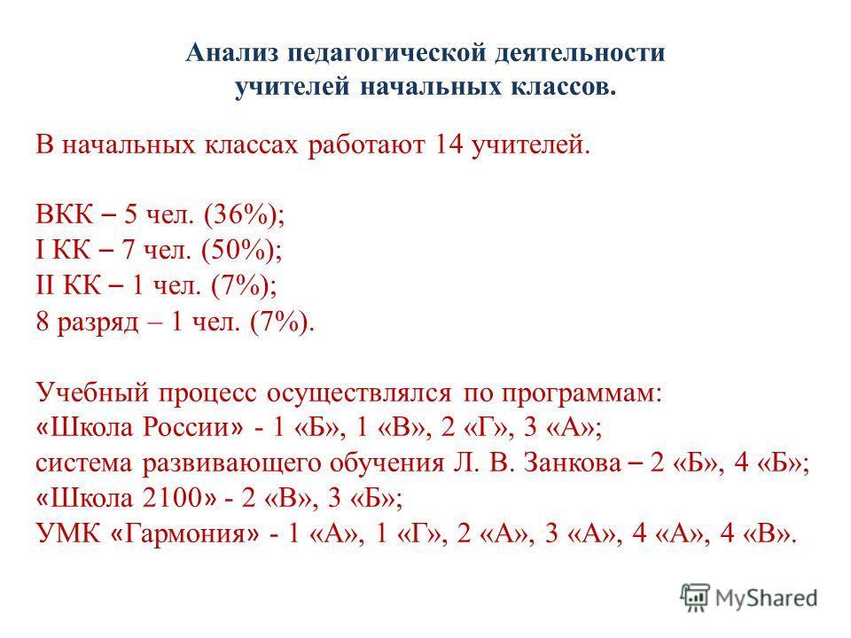 Анализ педагогической деятельности учителей начальных классов. В начальных классах работают 14 учителей. ВКК – 5 чел. (36%); I КК – 7 чел. (50%); II КК – 1 чел. (7%); 8 разряд – 1 чел. (7%). Учебный процесс осуществлялся по программам: « Школа России