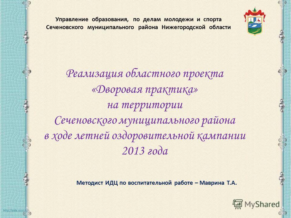 Реализация областного проекта «Дворовая практика» на территории Сеченовского муниципального района в ходе летней оздоровительной кампании 2013 года