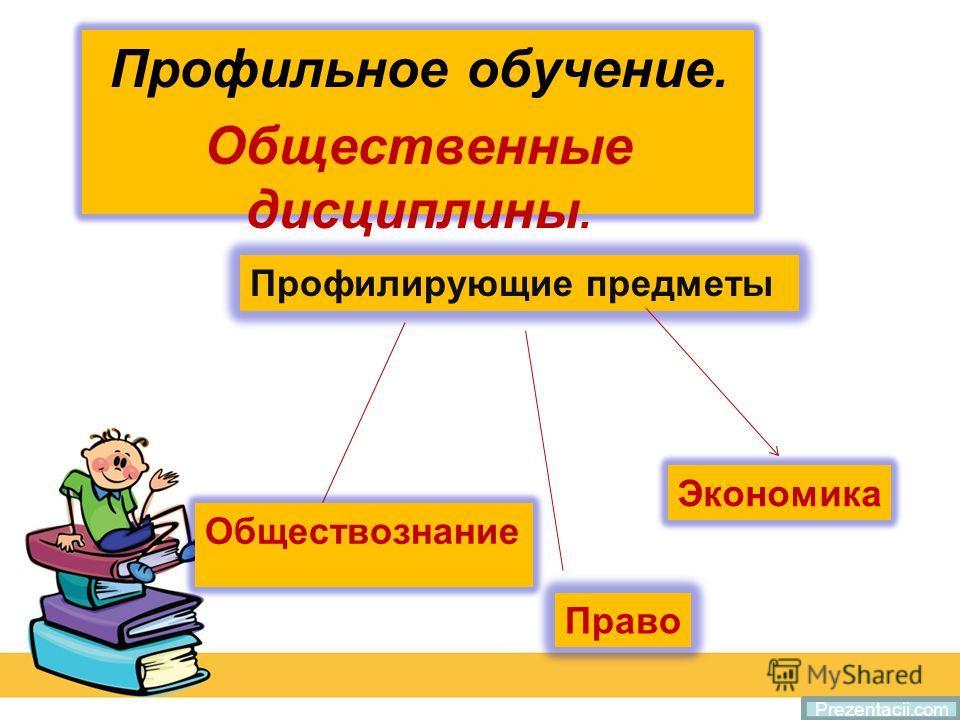 Профильное обучение. Общественные дисциплины. Prezentacii.com Профилирующие предметы Обществознание Право Экономика