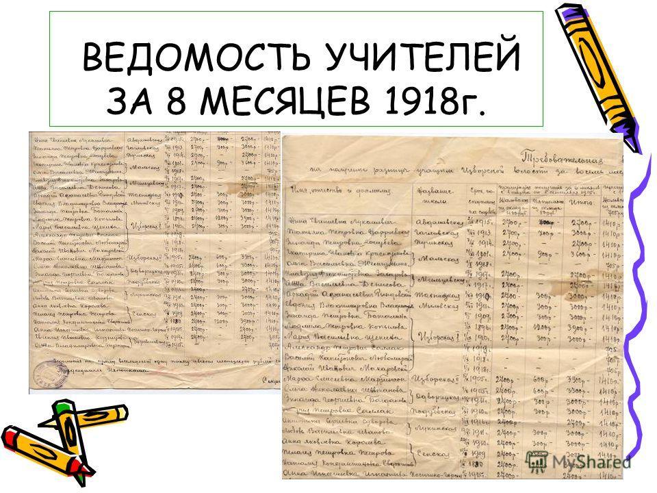 ВЕДОМОСТЬ УЧИТЕЛЕЙ ЗА 8 МЕСЯЦЕВ 1918г.