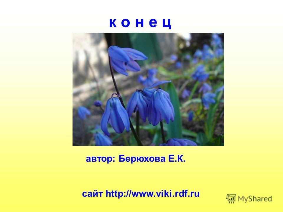 к о н е ц автор: Берюхова Е.К. сайт http://www.viki.rdf.ru К о н е ц. Автор: берюхова Е.К. Сайт http://www.Viki.Rdf.Ru.