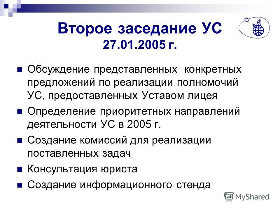 Второе заседание УС 27.01.2005 г. Обсуждение представленных конкретных предложений по реализации полномочий УС, предоставленных Уставом лицея Определение приоритетных направлений деятельности УС в 2005 г. Создание комиссий для реализации поставленных