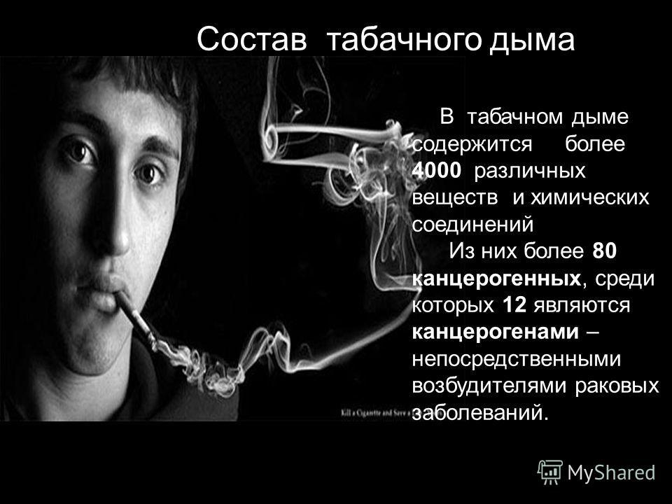 Состав табачного дыма В табачном дыме содержится более 4000 различных веществ и химических соединений Из них более 80 канцерогенных, среди которых 12 являются канцерогенами – непосредственными возбудителями раковых заболеваний.