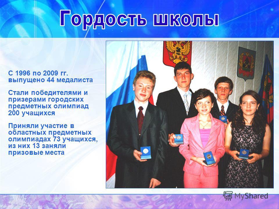 С 1996 по 2009 гг. выпущено 44 медалиста Стали победителями и призерами городских предметных олимпиад 200 учащихся Приняли участие в областных предметных олимпиадах 73 учащихся, из них 13 заняли призовые места