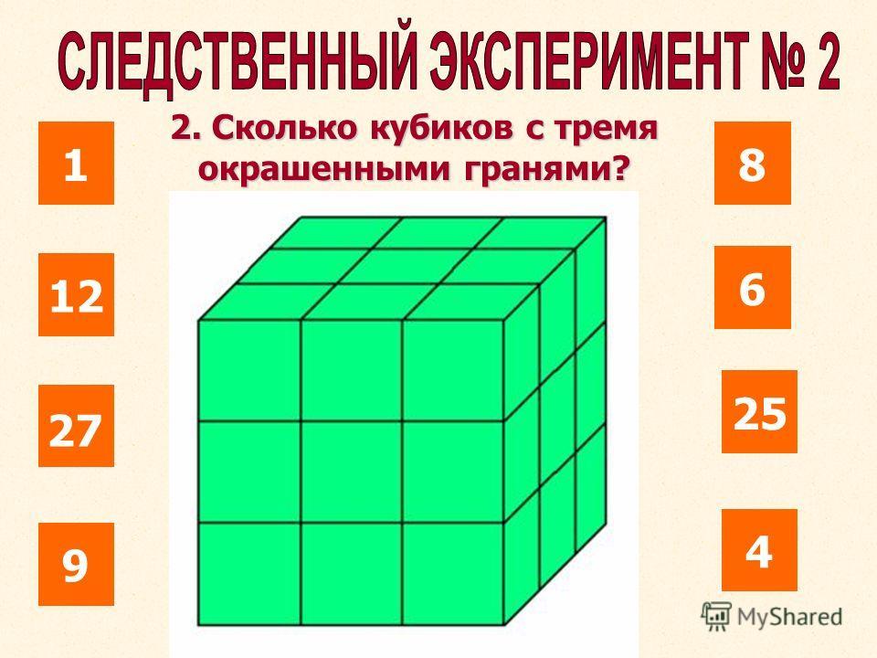 1 12 25 6 8 27 4 9 2. Сколько кубиков с тремя окрашенными гранями?