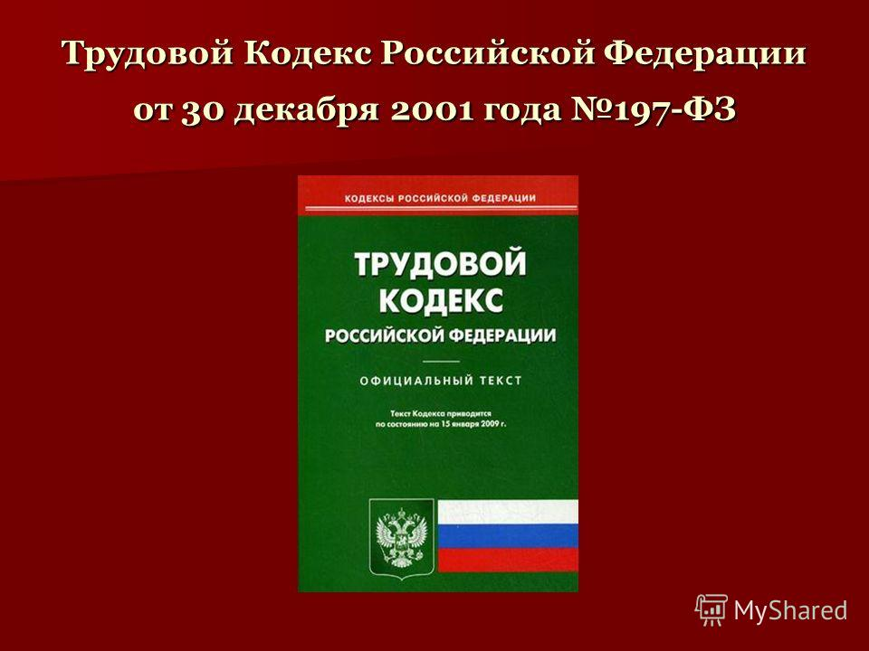 Трудовой Кодекс Российской Федерации от 30 декабря 2001 года 197-ФЗ