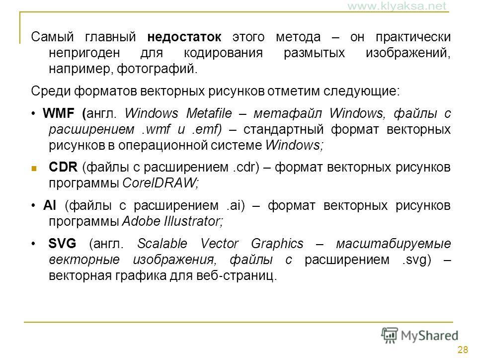 28 Самый главный недостаток этого метода – он практически непригоден для кодирования размытых изображений, например, фотографий. Среди форматов векторных рисунков отметим следующие: WMF (англ. Windows Metafile – метафайл Windows, файлы с расширением.