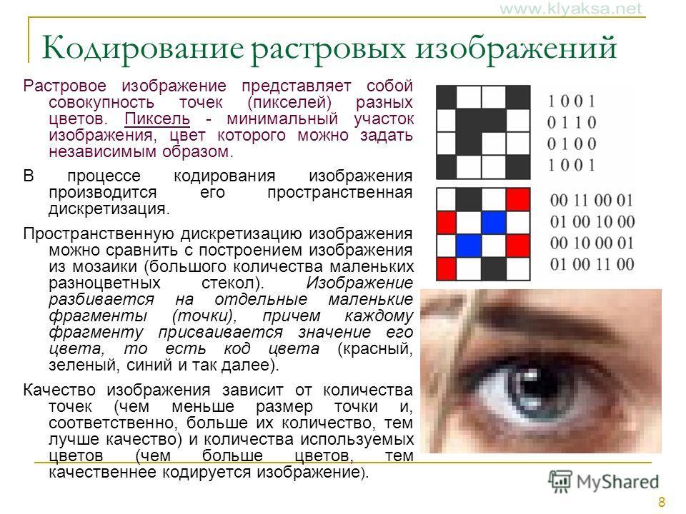 8 Кодирование растровых изображений Растровое изображение представляет собой совокупность точек (пикселей) разных цветов. Пиксель - минимальный участок изображения, цвет которого можно задать независимым образом. В процессе кодирования изображения пр