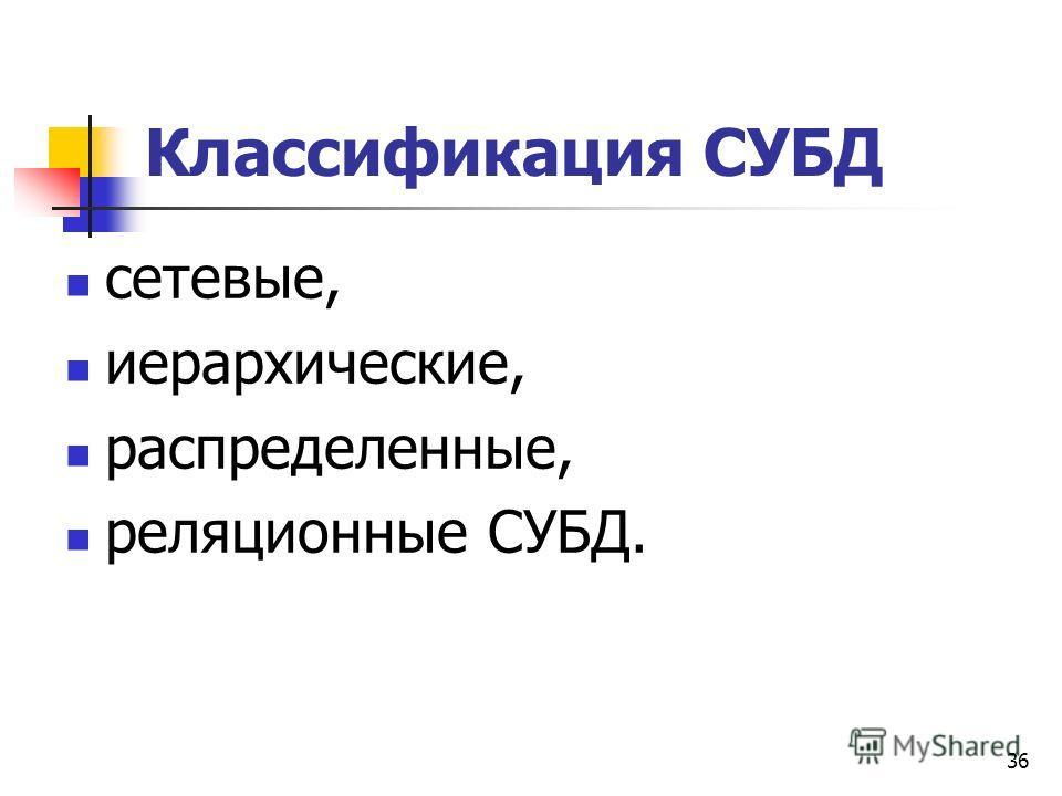 36 Классификация СУБД сетевые, иерархические, распределенные, реляционные СУБД.