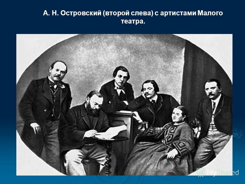 А. Н. Островский (второй слева) с артистами Малого театра.