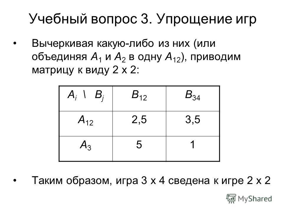 Учебный вопрос 3. Упрощение игр Вычеркивая какую-либо из них (или объединяя А 1 и А 2 в одну А 12 ), приводим матрицу к виду 2 х 2: Таким образом, игра 3 х 4 сведена к игре 2 х 2 А i \ В j В 12 В 34 А 12 2,53,5 А3А3 51