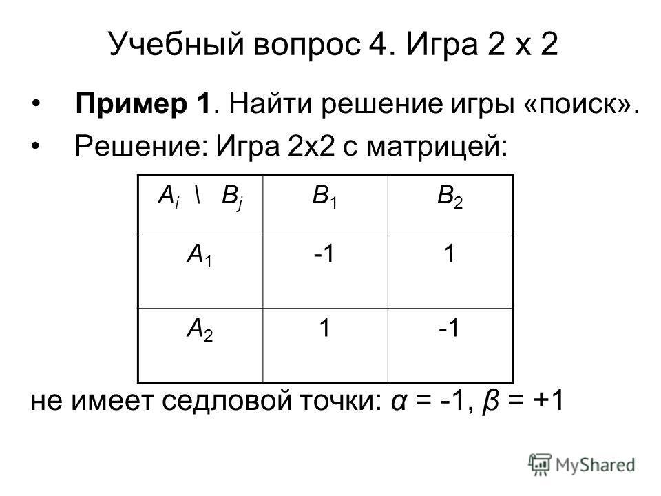 Учебный вопрос 4. Игра 2 х 2 Пример 1. Найти решение игры «поиск». Решение: Игра 2х2 с матрицей: не имеет седловой точки: α = -1, β = +1 А i \ В j В1В1 В2В2 А1А1 1 А2А2 1