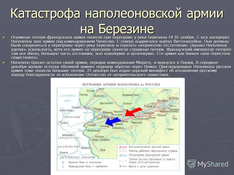 Изгнание армии Наполеона из России 7 октября Наполеон вывел свою армию из Москвы. Перед отходом он велел взорвать Кремль и Новодевичий монастырь. Но москвичам удалось спасти эти сооружения. Передовые части двух армий встретились у Малоярославца. В уп