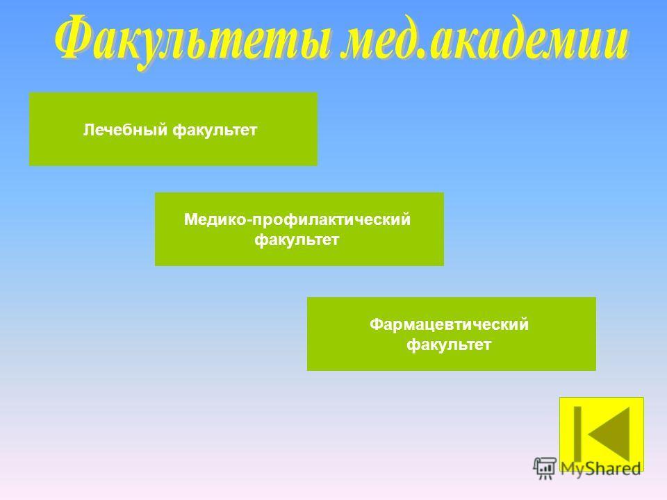 Фармацевтический факультет Медико-профилактический факультет Лечебный факультет