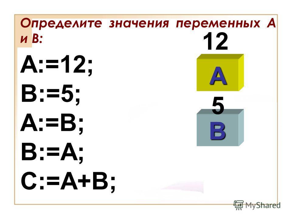 Определите значения переменных А и В: A:=12; B:=5; A:=B; B:=A; C:=A+B; A B 12 5 5