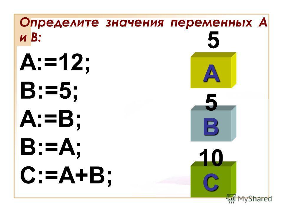 Определите значения переменных А и В: A:=12; B:=5; A:=B; B:=A; C:=A+B; A B C 5 55 5 10